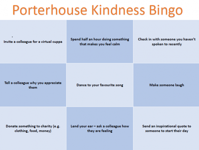 Porterhouse Kindness Bingo