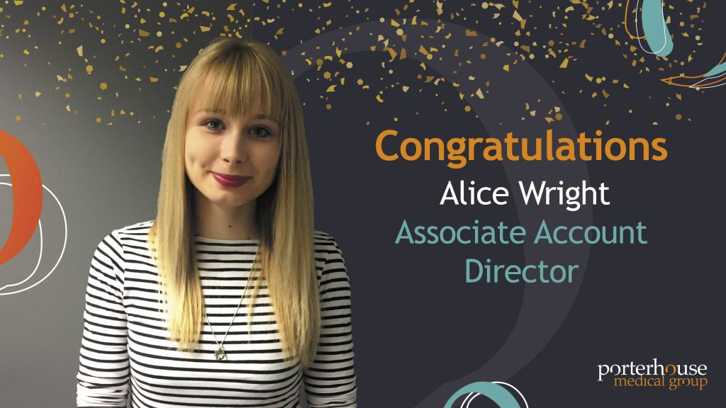 Photo_Alice_Wright_Congratulations_Associate Account Director -Porterhouse Medical